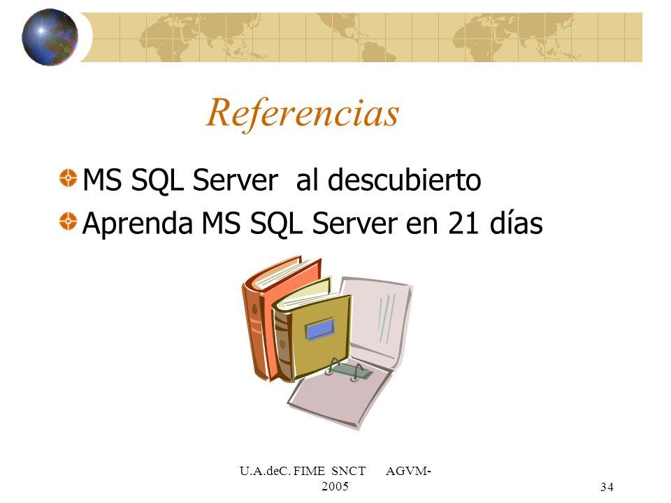 U.A.deC. FIME SNCT AGVM- 200534 Referencias MS SQL Server al descubierto Aprenda MS SQL Server en 21 días