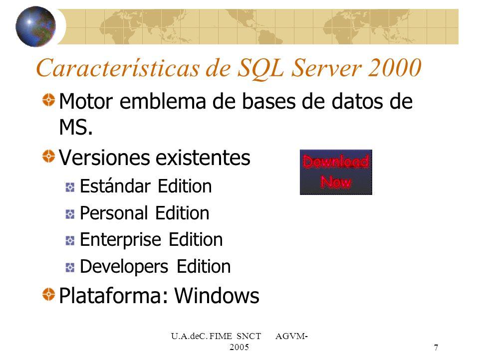 U.A.deC. FIME SNCT AGVM- 20057 Características de SQL Server 2000 Motor emblema de bases de datos de MS. Versiones existentes Estándar Edition Persona