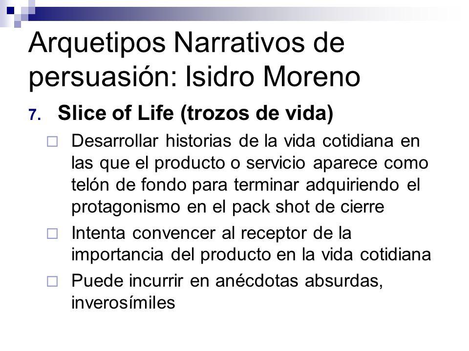 Arquetipos Narrativos de persuasión: Isidro Moreno 7. Slice of Life (trozos de vida) Desarrollar historias de la vida cotidiana en las que el producto