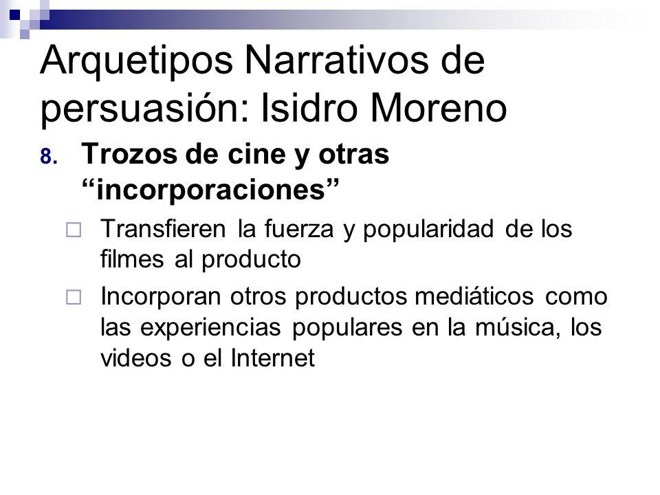 Arquetipos Narrativos de persuasión: Isidro Moreno 8. Trozos de cine y otras incorporaciones Transfieren la fuerza y popularidad de los filmes al prod