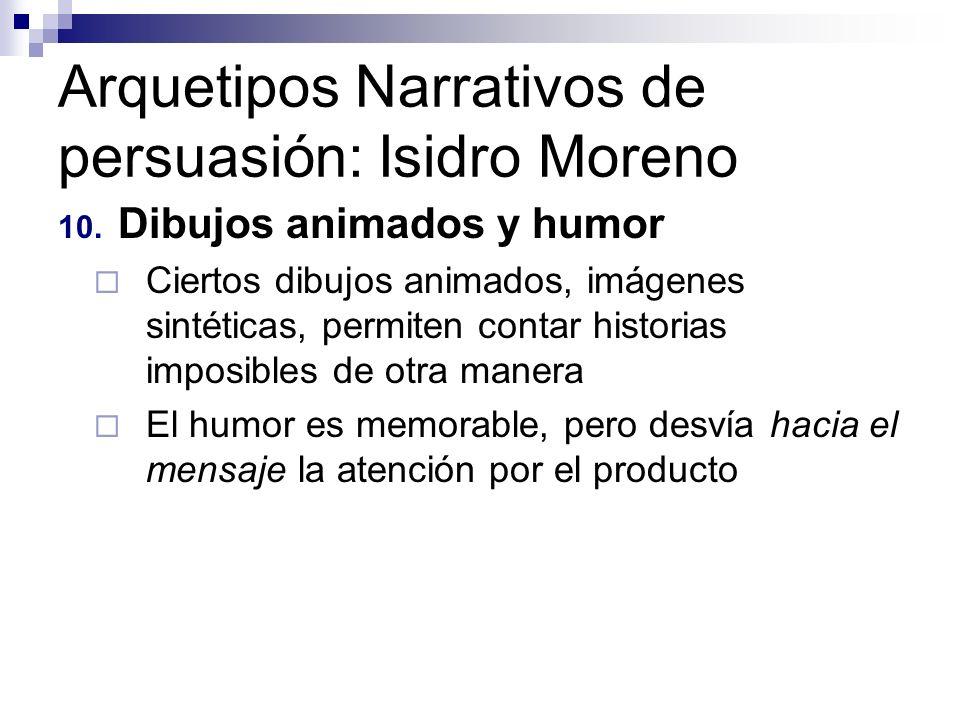 Arquetipos Narrativos de persuasión: Isidro Moreno 10. Dibujos animados y humor Ciertos dibujos animados, imágenes sintéticas, permiten contar histori