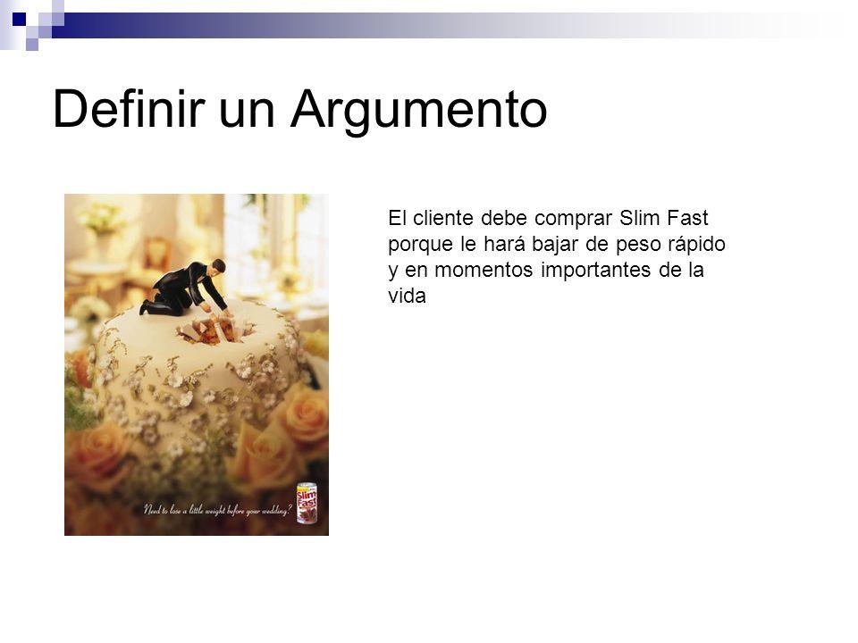 Definir un Argumento El cliente debe comprar Slim Fast porque le hará bajar de peso rápido y en momentos importantes de la vida