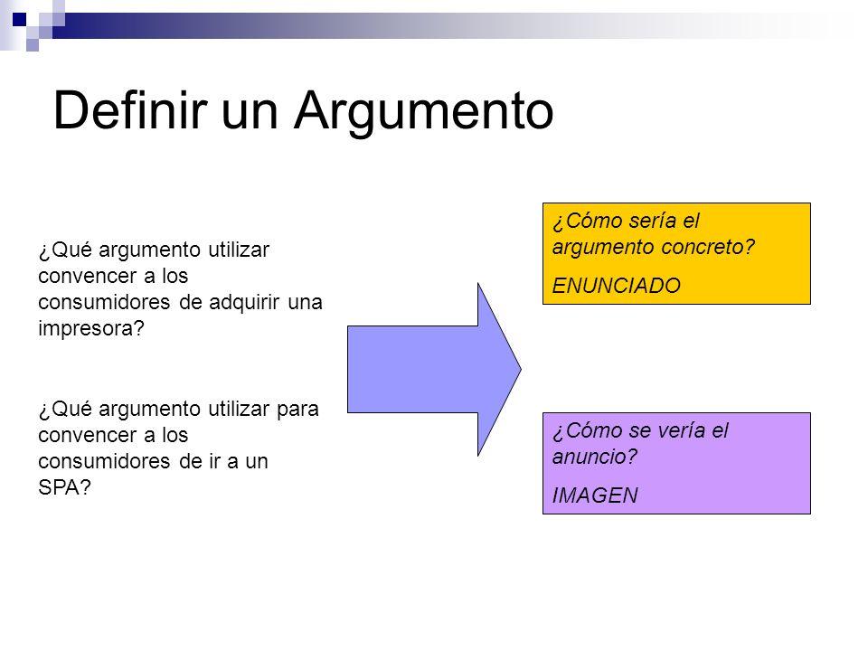 Definir un Argumento ¿Qué argumento utilizar convencer a los consumidores de adquirir una impresora? ¿Cómo sería el argumento concreto? ENUNCIADO ¿Cóm