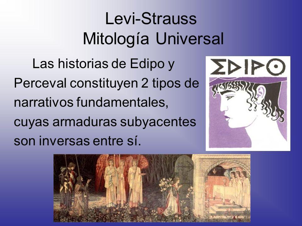 Levi-Strauss Mitología Universal Las historias de Edipo y Perceval constituyen 2 tipos de narrativos fundamentales, cuyas armaduras subyacentes son in