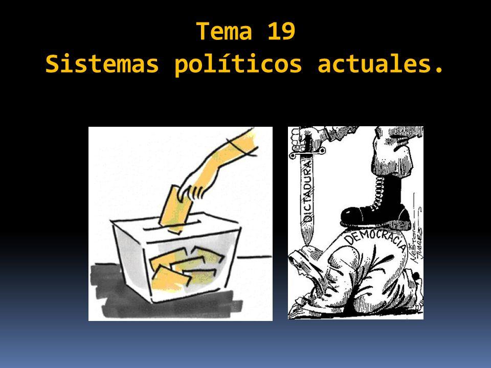 En este tema abordaremos los dos tipos de sistemas políticos actuales: la democracia y la dictadura.