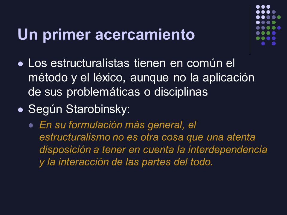 Un primer acercamiento Los estructuralistas tienen en común el método y el léxico, aunque no la aplicación de sus problemáticas o disciplinas Según St