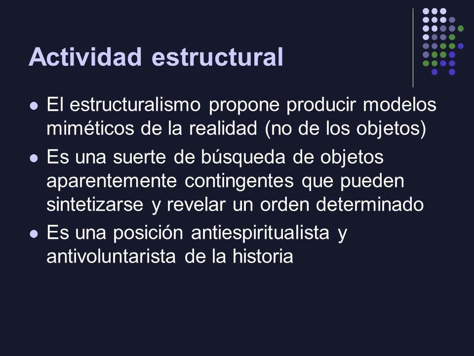 Actividad estructural El estructuralismo propone producir modelos miméticos de la realidad (no de los objetos) Es una suerte de búsqueda de objetos ap