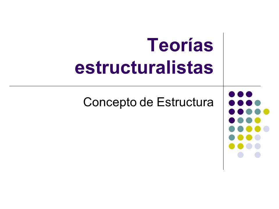 Teorías estructuralistas Concepto de Estructura