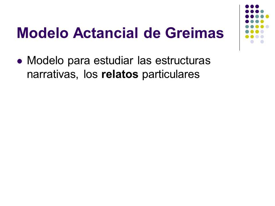 Modelo Actancial de Greimas Modelo para estudiar las estructuras narrativas, los relatos particulares