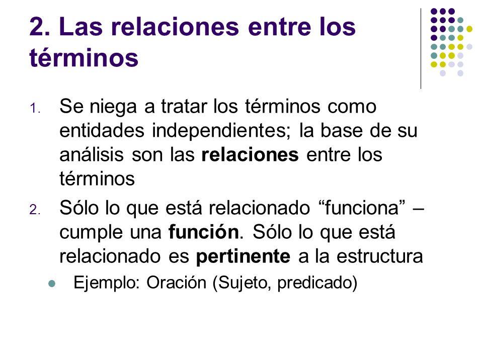2. Las relaciones entre los términos 1. Se niega a tratar los términos como entidades independientes; la base de su análisis son las relaciones entre