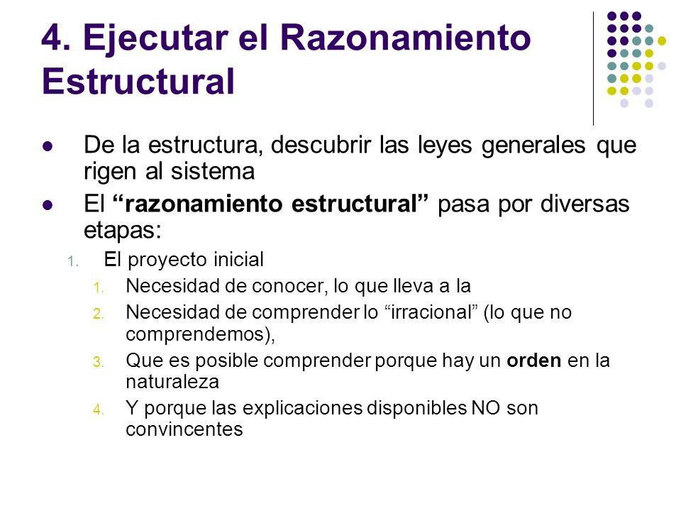 4. Ejecutar el Razonamiento Estructural De la estructura, descubrir las leyes generales que rigen al sistema El razonamiento estructural pasa por dive