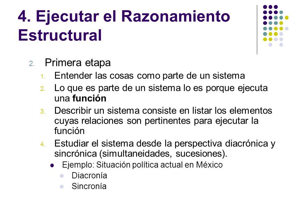 4. Ejecutar el Razonamiento Estructural 2. Primera etapa 1. Entender las cosas como parte de un sistema 2. Lo que es parte de un sistema lo es porque