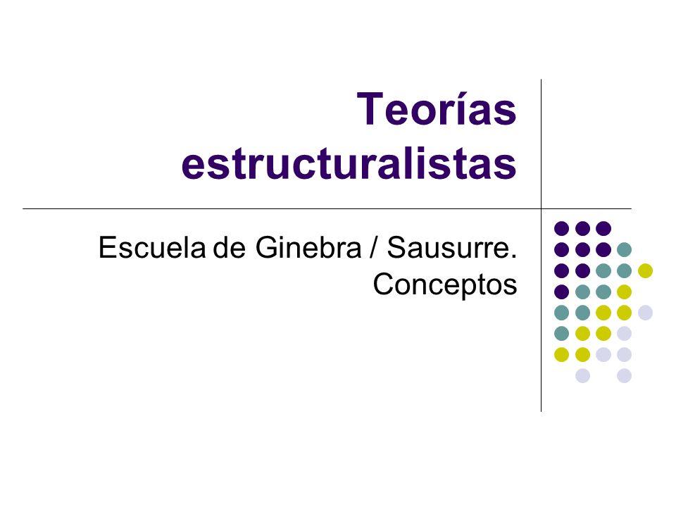Teorías estructuralistas Escuela de Ginebra / Sausurre. Conceptos