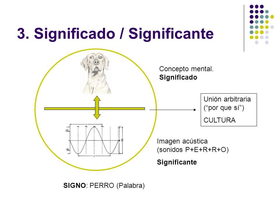 3. Significado / Significante Imagen acústica (sonidos P+E+R+R+O) Significante Concepto mental. Significado SIGNO: PERRO (Palabra) Unión arbitraria (p