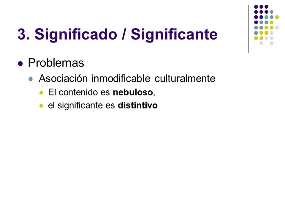 3. Significado / Significante Problemas Asociación inmodificable culturalmente El contenido es nebuloso, el significante es distintivo