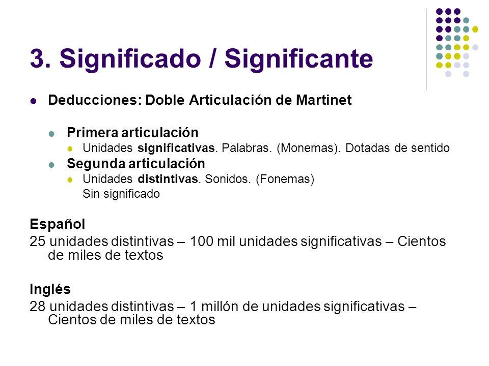 3. Significado / Significante Deducciones: Doble Articulación de Martinet Primera articulación Unidades significativas. Palabras. (Monemas). Dotadas d
