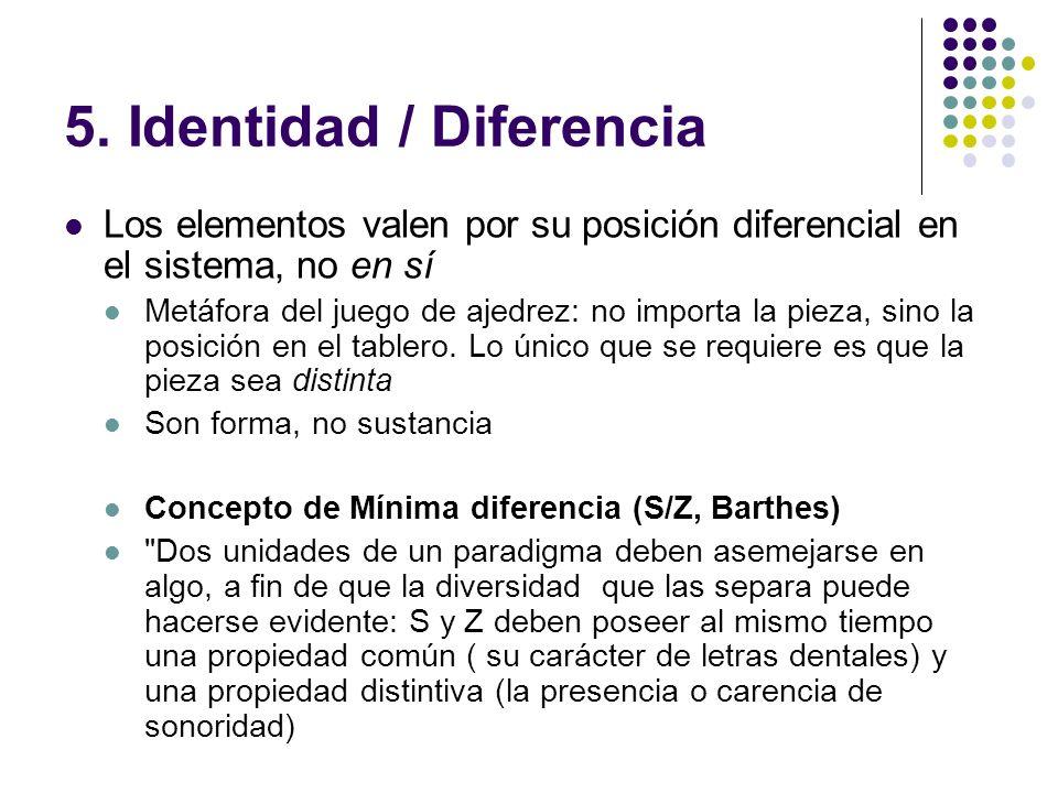 5. Identidad / Diferencia Los elementos valen por su posición diferencial en el sistema, no en sí Metáfora del juego de ajedrez: no importa la pieza,