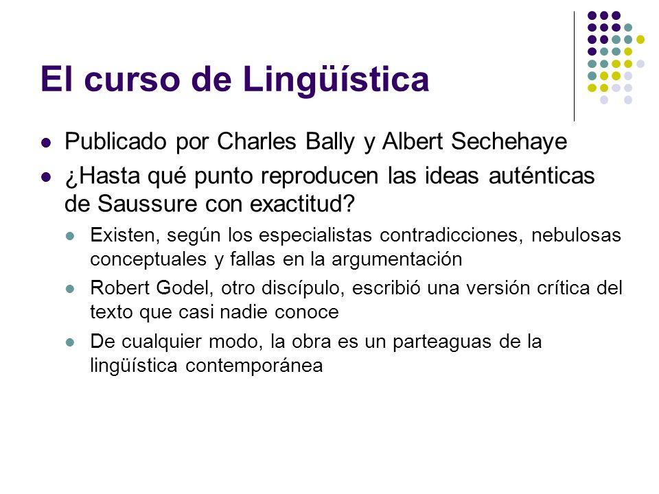 El curso de Lingüística Publicado por Charles Bally y Albert Sechehaye ¿Hasta qué punto reproducen las ideas auténticas de Saussure con exactitud? Exi