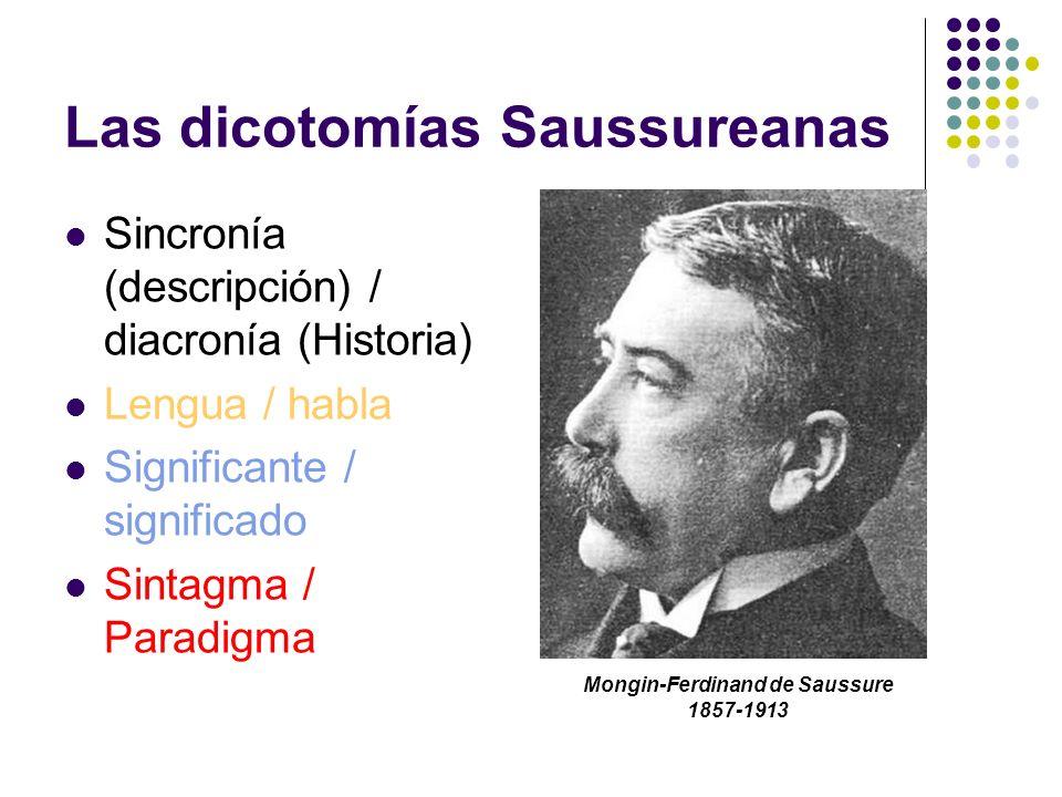 Las dicotomías Saussureanas Sincronía (descripción) / diacronía (Historia) Lengua / habla Significante / significado Sintagma / Paradigma Mongin-Ferdi