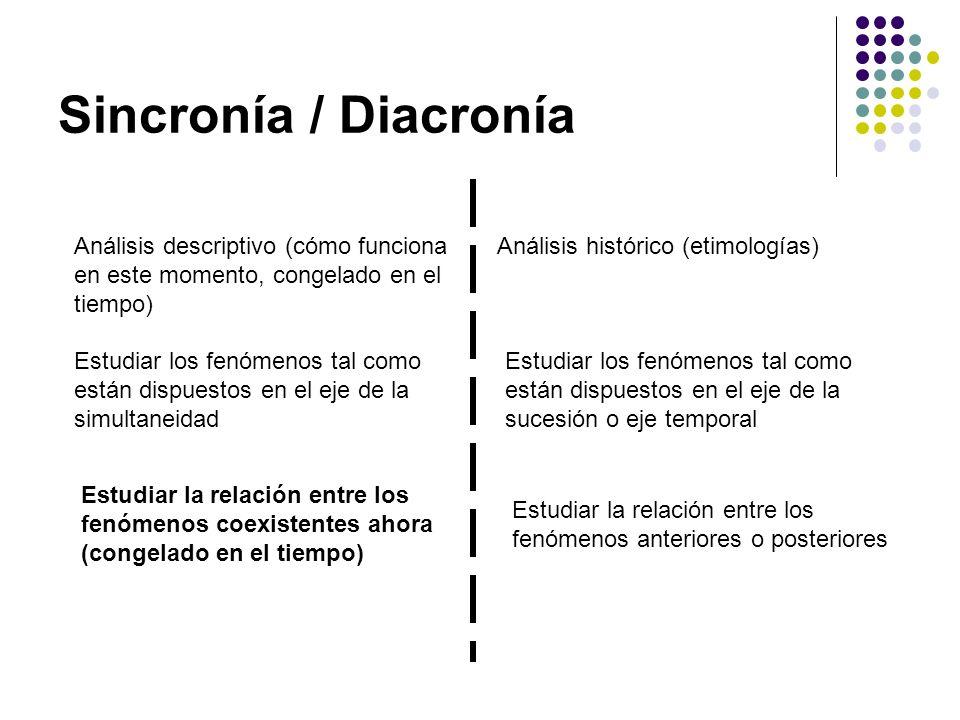 Sincronía / Diacronía Análisis descriptivo (cómo funciona en este momento, congelado en el tiempo) Análisis histórico (etimologías) Estudiar los fenóm