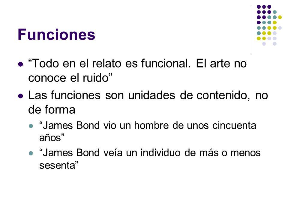 Funciones Clases de funciones Funciones cardinales (núcleos) Catálisis Indicios Informantes