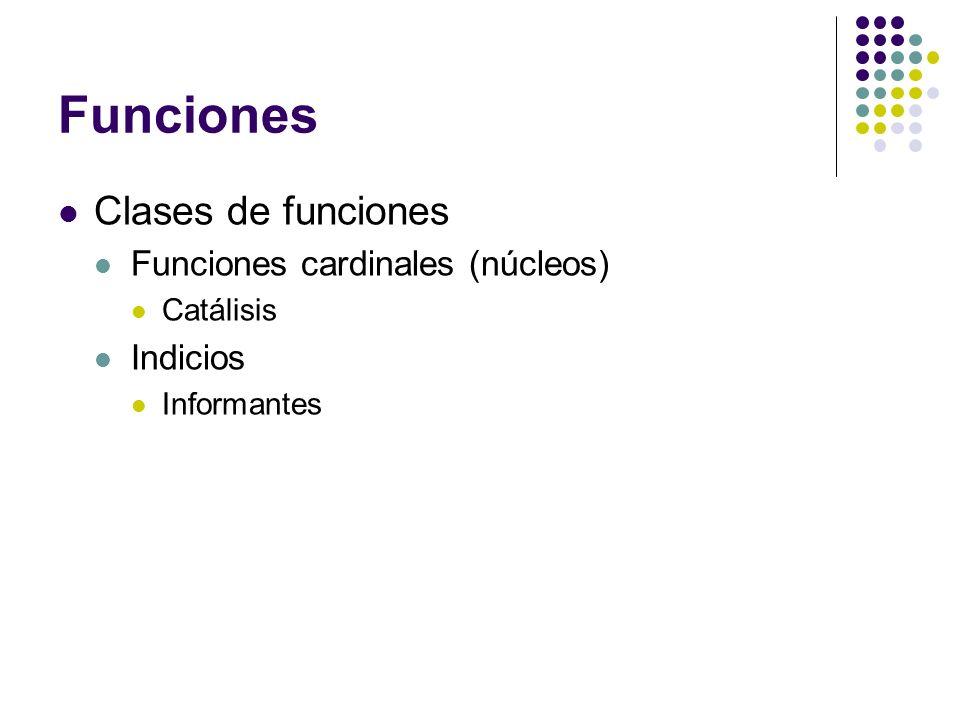 Funciones Clases de funciones Funciones cardinales (núcleos): acciones, términos de un correlato.