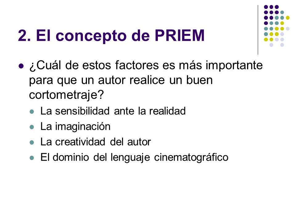 2. El concepto de PRIEM ¿Cuál de estos factores es más importante para que un autor realice un buen cortometraje? La sensibilidad ante la realidad La