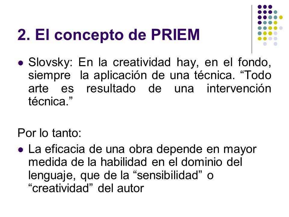 2. El concepto de PRIEM Slovsky: En la creatividad hay, en el fondo, siempre la aplicación de una técnica. Todo arte es resultado de una intervención