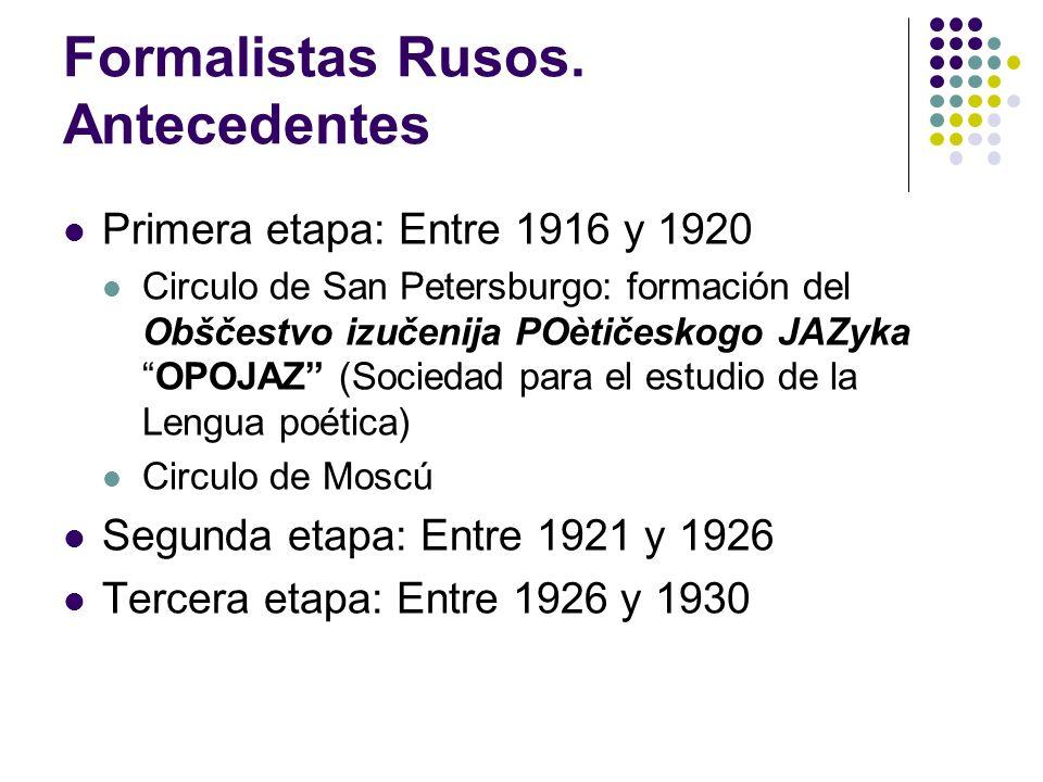 Formalistas Rusos. Antecedentes Primera etapa: Entre 1916 y 1920 Circulo de San Petersburgo: formación del Obščestvo izučenija POètičeskogo JAZykaOPOJ