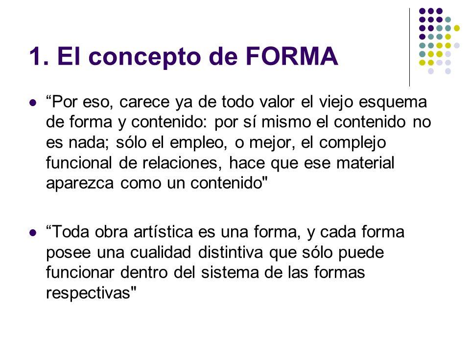 1. El concepto de FORMA Por eso, carece ya de todo valor el viejo esquema de forma y contenido: por sí mismo el contenido no es nada; sólo el empleo,