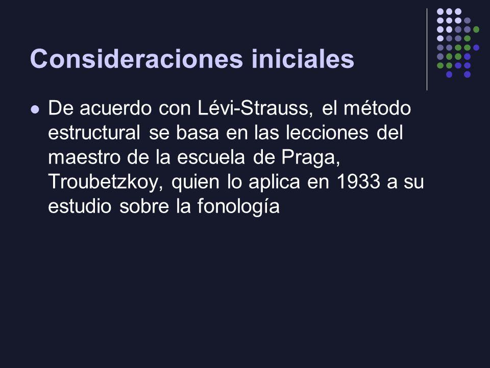 Consideraciones iniciales De acuerdo con Lévi-Strauss, el método estructural se basa en las lecciones del maestro de la escuela de Praga, Troubetzkoy, quien lo aplica en 1933 a su estudio sobre la fonología