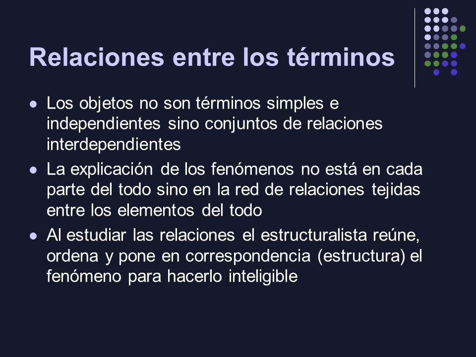 Relaciones entre los términos Los objetos no son términos simples e independientes sino conjuntos de relaciones interdependientes La explicación de los fenómenos no está en cada parte del todo sino en la red de relaciones tejidas entre los elementos del todo Al estudiar las relaciones el estructuralista reúne, ordena y pone en correspondencia (estructura) el fenómeno para hacerlo inteligible