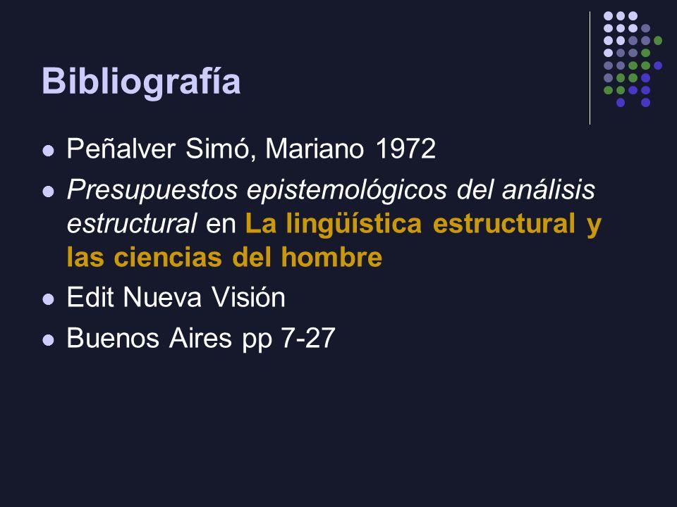 Bibliografía Peñalver Simó, Mariano 1972 Presupuestos epistemológicos del análisis estructural en La lingüística estructural y las ciencias del hombre