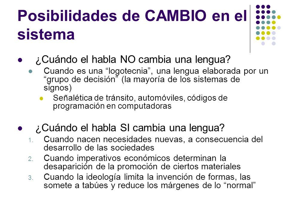 Posibilidades de CAMBIO en el sistema ¿Cuándo el habla NO cambia una lengua? Cuando es una logotecnia, una lengua elaborada por un grupo de decisión (