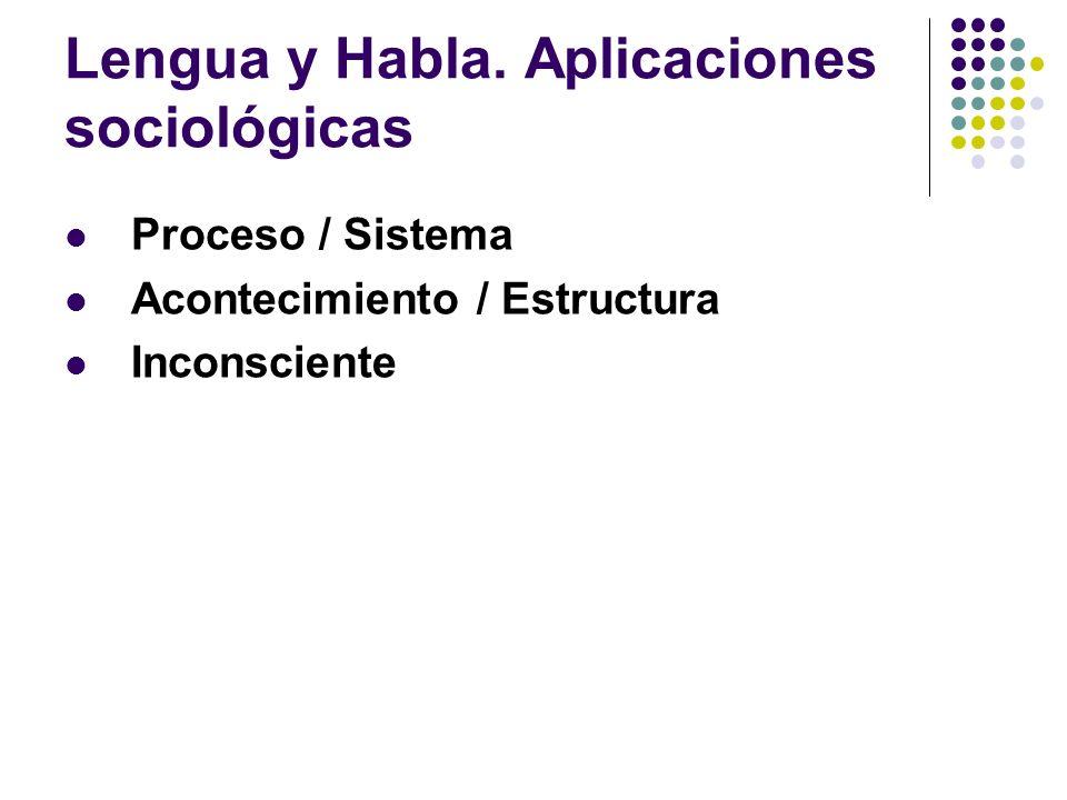Lengua y Habla. Aplicaciones sociológicas Proceso / Sistema Acontecimiento / Estructura Inconsciente
