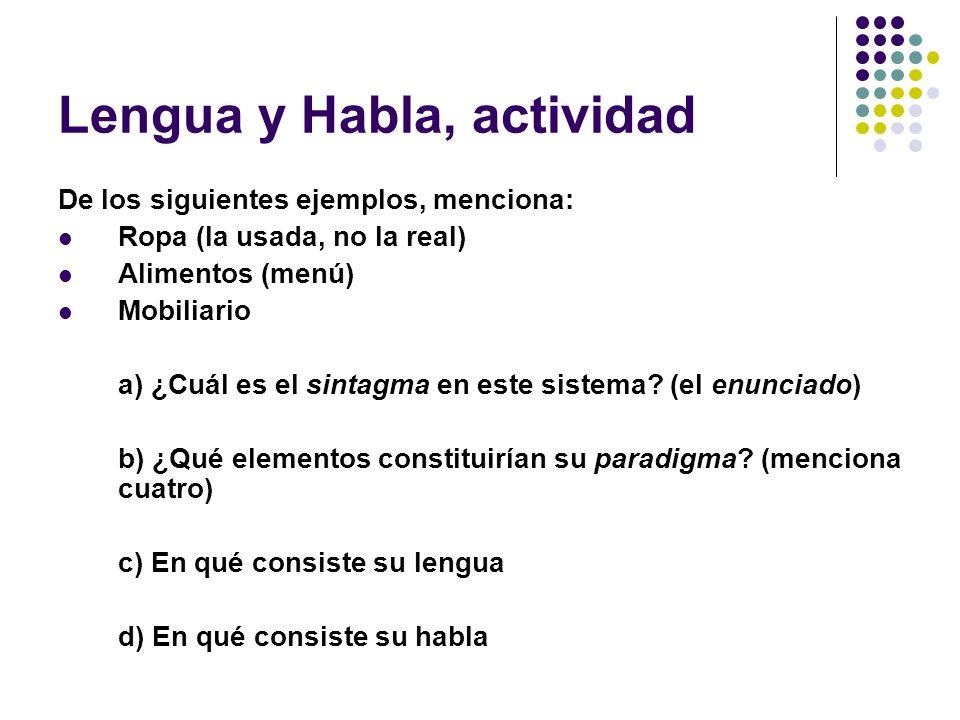 Lengua y Habla, actividad De los siguientes ejemplos, menciona: Ropa (la usada, no la real) Alimentos (menú) Mobiliario a) ¿Cuál es el sintagma en est