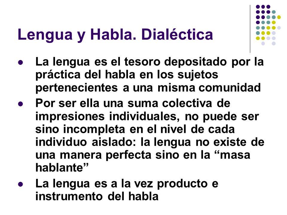 Lengua y Habla. Dialéctica La lengua es el tesoro depositado por la práctica del habla en los sujetos pertenecientes a una misma comunidad Por ser ell