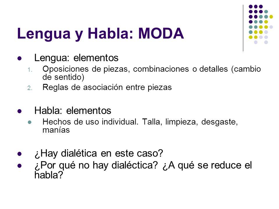 Lengua y Habla: MODA Lengua: elementos 1. Oposiciones de piezas, combinaciones o detalles (cambio de sentido) 2. Reglas de asociación entre piezas Hab