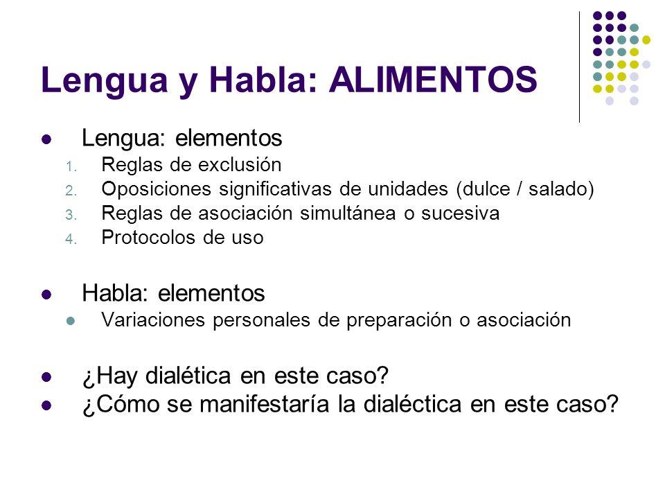 Lengua y Habla: ALIMENTOS Lengua: elementos 1. Reglas de exclusión 2. Oposiciones significativas de unidades (dulce / salado) 3. Reglas de asociación