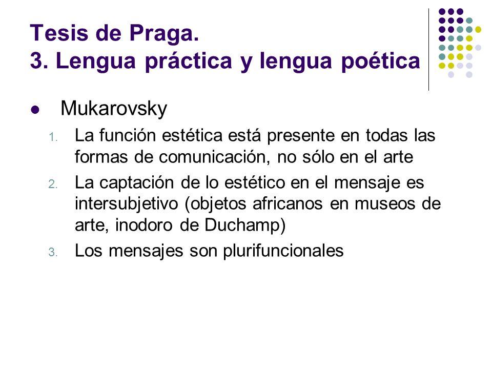 Tesis de Praga. 3. Lengua práctica y lengua poética Mukarovsky 1. La función estética está presente en todas las formas de comunicación, no sólo en el