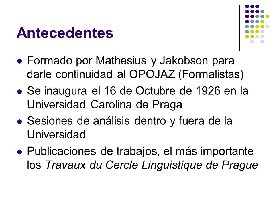 Antecedentes Formado por Mathesius y Jakobson para darle continuidad al OPOJAZ (Formalistas) Se inaugura el 16 de Octubre de 1926 en la Universidad Ca