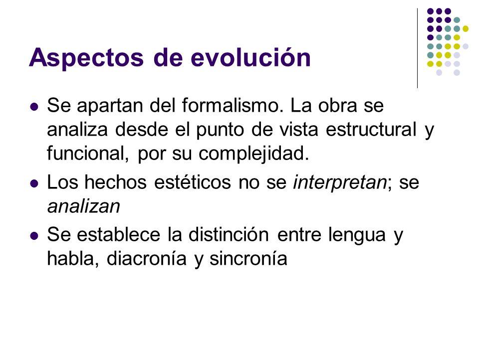 Aspectos de evolución Se apartan del formalismo. La obra se analiza desde el punto de vista estructural y funcional, por su complejidad. Los hechos es