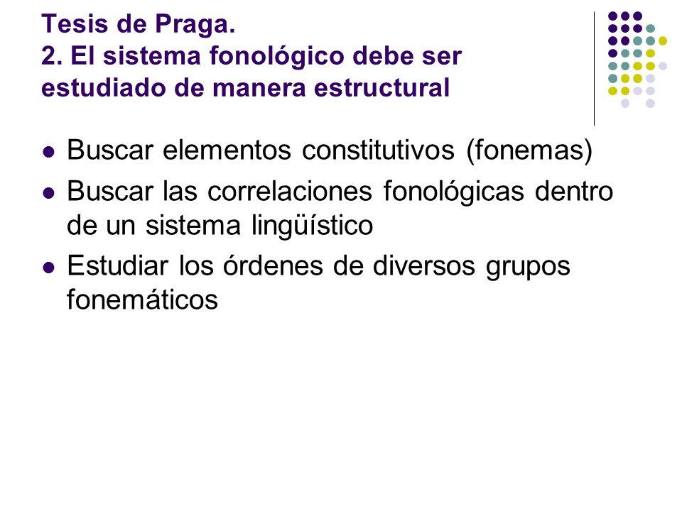 Tesis de Praga. 2. El sistema fonológico debe ser estudiado de manera estructural Buscar elementos constitutivos (fonemas) Buscar las correlaciones fo