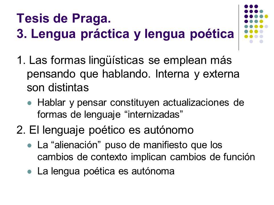 Tesis de Praga. 3. Lengua práctica y lengua poética 1. Las formas lingüísticas se emplean más pensando que hablando. Interna y externa son distintas H