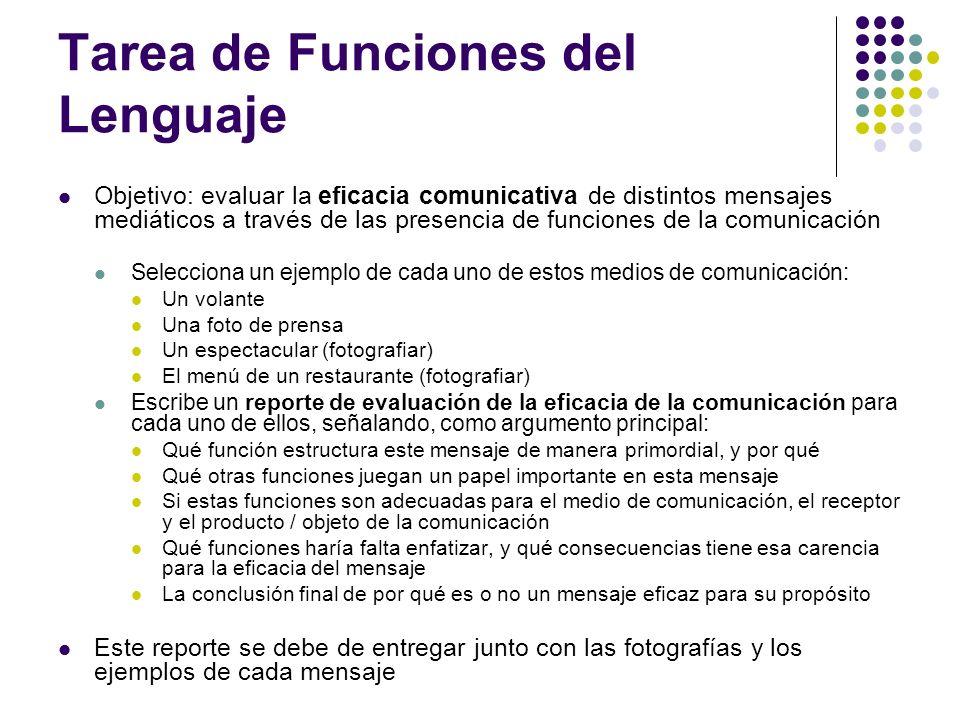 Tarea de Funciones del Lenguaje Objetivo: evaluar la eficacia comunicativa de distintos mensajes mediáticos a través de las presencia de funciones de