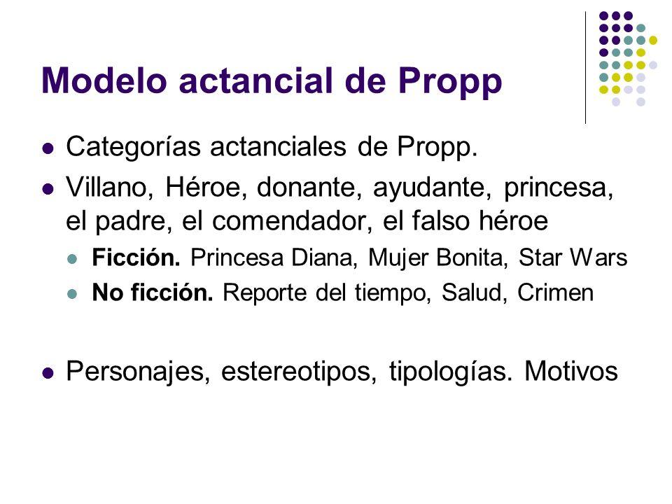 Modelo actancial de Propp Categorías actanciales de Propp. Villano, Héroe, donante, ayudante, princesa, el padre, el comendador, el falso héroe Ficció
