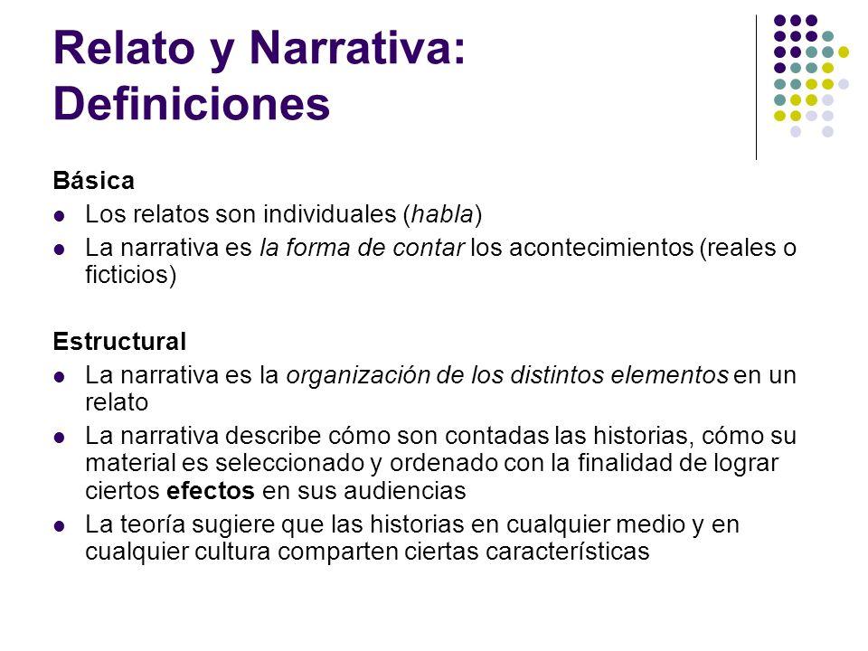 Relato y Narrativa: Definiciones Básica Los relatos son individuales (habla) La narrativa es la forma de contar los acontecimientos (reales o ficticio
