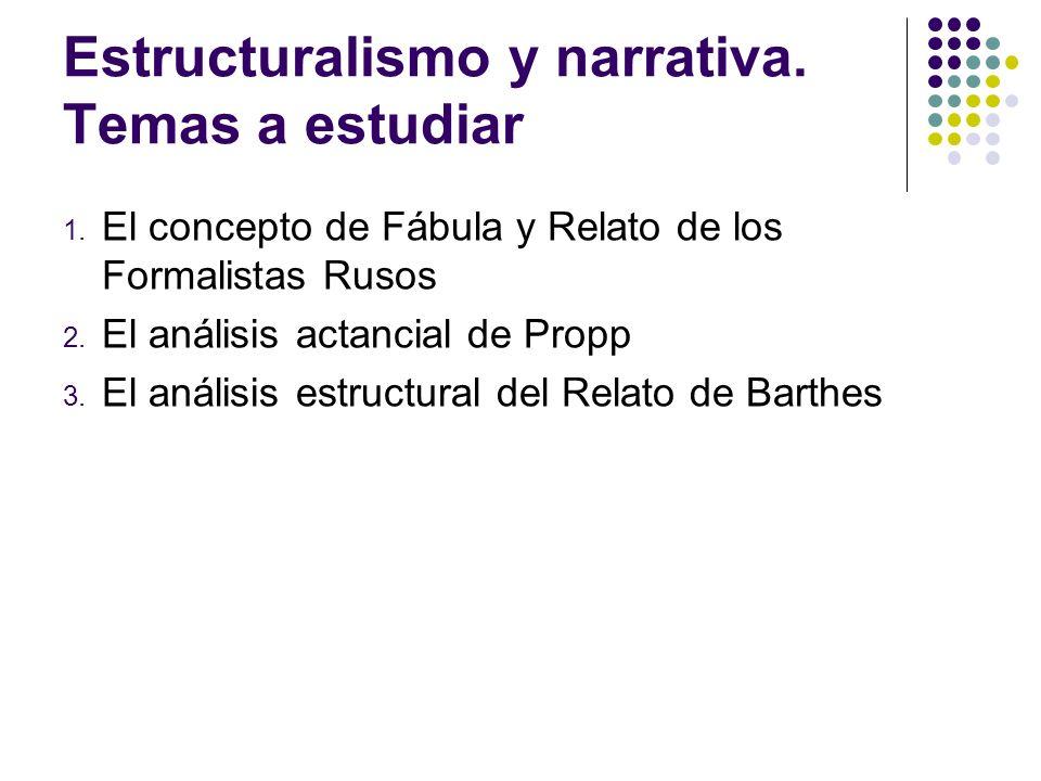 Estructuralismo y narrativa. Temas a estudiar 1. El concepto de Fábula y Relato de los Formalistas Rusos 2. El análisis actancial de Propp 3. El análi