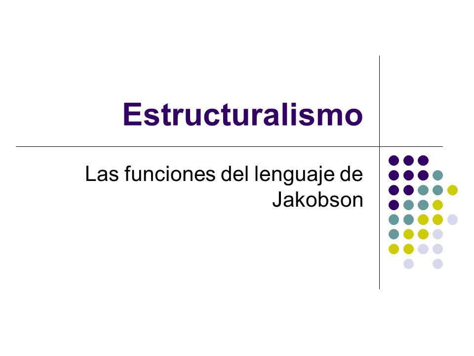 Estructuralismo Las funciones del lenguaje de Jakobson