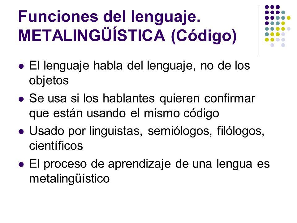 Funciones del lenguaje. METALINGÜÍSTICA (Código) El lenguaje habla del lenguaje, no de los objetos Se usa si los hablantes quieren confirmar que están